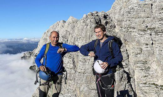 Jansa und Kurz erklommen bei dessen Slowenien-Besuch kürzlich  die Triglav-Nordwand