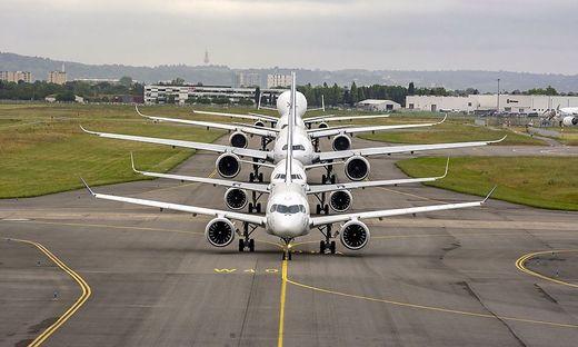 Ein Teil der Airbus-Familie in Toulouse, Frankreich