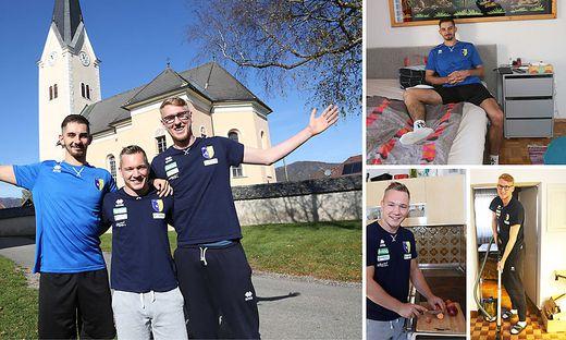 So idyllisch leben Max Landfahrer, Manuel Steiner und Thomas Tröthann (v. l. n. r.) in Schwabegg. Steiner beim Schnippeln, Tröthann bei der Hausarbeit und Landfahrer beim Chillen
