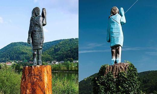 Die neue Statue von Melania Trump (links) ist aus Bronze, die alte war aus Holz