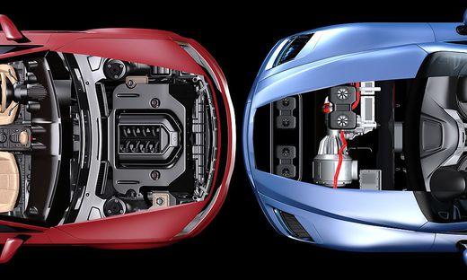 Der Elektromotor (links) verbreitet sich mit hohen Wachstumsraten. Dennoch haben die Stromer den Massenmarkt noch nicht erreicht