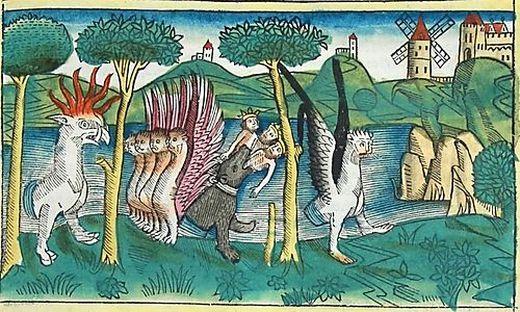 Die Darstellung von Daniels Vision in der Koberger-Bibel datiert aus dem Jahr 1483 – zu sehen in der Unibibliothek