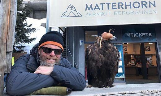 Franz Schüttelkopf war mit seinen Adlern für Filmaufnahmen in der Schweiz