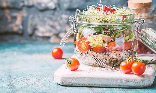 Healthy Salad in a glass jar