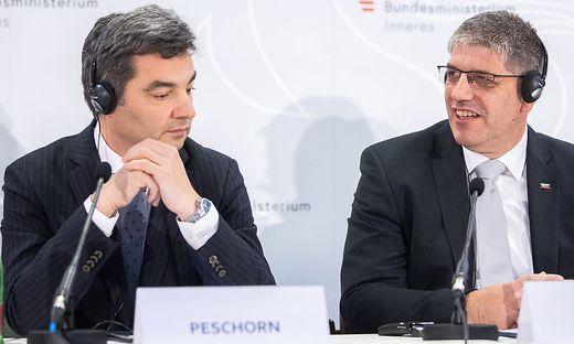Wolfgang Peschorn und sein slowenischer Amtskollege bei der Konferenz der Innenminister in Wien