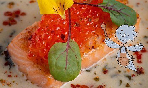 Lachsforelle in Weißweinsauce