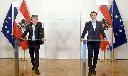 Die Koalitionspartner Kurz und Kogler