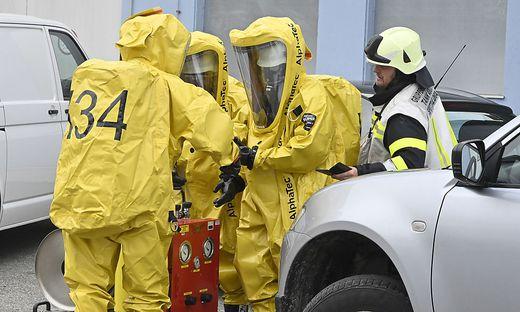 Feuerwehreinsatz auf Firmengelände in Feistritz/Drau.Es sollen Chemikalien ausgetreten sein