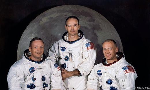 Die Apollo-11-Astronauten, März 1969: Neil A. Armstrong, Michael Collins, Edwin E. 'Buzz' Aldrin