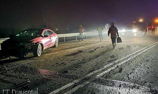 Blechschadenunfall auf der Gamsbachbrücke in Frauental