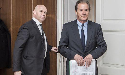 Der Kärntner Ex-ÖVP-Chef Josef Martinz mit seinem Anwalt Alexander Todor-Kostic (links). Gegen Martinz wurde bei Gericht ein Antrag auf Zwangsversteigerung eingebracht
