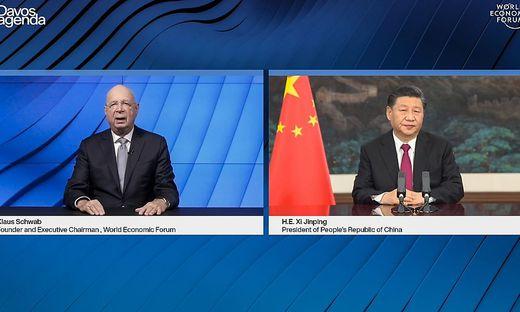"""Klaus Schwab und Xi Jinping  zum Auftak des virtuellen Meetuings zur 2Davos Agenda"""" des Weltwirtchaftsforums"""