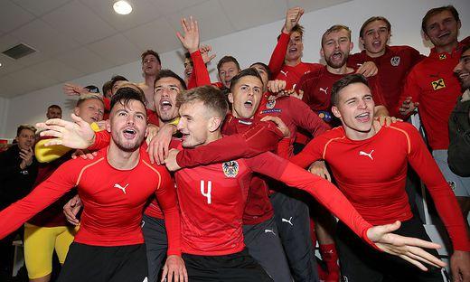 Groß war der Jubel bei den Österreichern nach der erfolgreichen U21-EM-Qualifikation