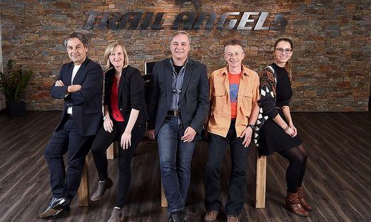 """Die """"Trail Angels"""" aus Obervellach: CEO Günter Mussnig, Sonja Thaler, CFO Werner Mussnig, Rudi Trinker, COO Nathalie Reichhold"""