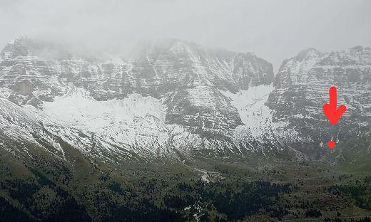 An dieser Stelle passierte beim Abstieg vom Cima di Terrarossa das Unglück