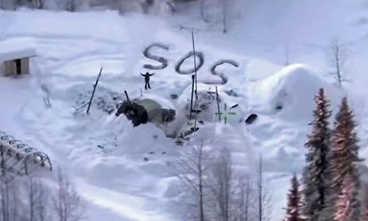"""Der Verschollene malte ein großes """"SOS"""" in den Schnee"""