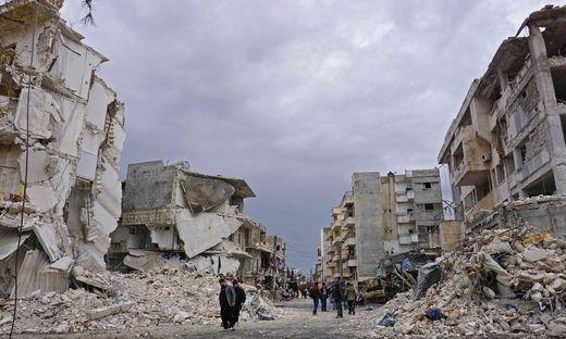 Eine Straße im nordsyrischen Idlib