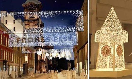 """Die neuen """"Lichtsegel"""" in der Herrengasse können verschieden bespielt werden. Der Uhrturm ist einer von zwei neuen """"Fotopoints"""""""