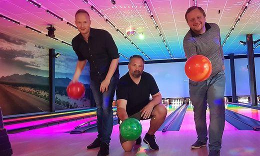 Patrick Kurej (Hanks'Bar & Grill), Max Moder (Vanilla Restaurant) und Stefan Riedler (Dieselkino) sind narrisch auf die Kugeln
