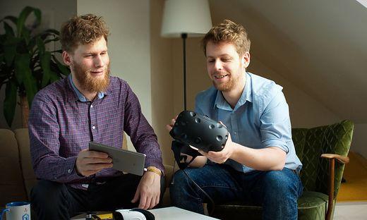 Firmengründer Johannes Fasching und Elias Remele machen Immobilien mittels 3-D-Brille erlebbar