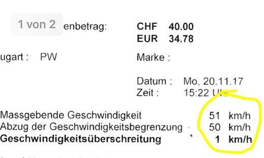 Wegen einem Stundenkilometer muss der Kärntner gut 35 Euro zahlen
