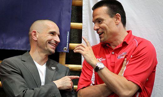 Kapfenberg-Manager Michael Schrittwieser (links) und Bayreuth-Trainer Raoul Korner treffen heute aufeinander