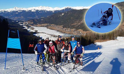 Das Skibob-Nationalteam mit Trainer Helmut Winkler (Zweiter von links) auf der Naggleralm