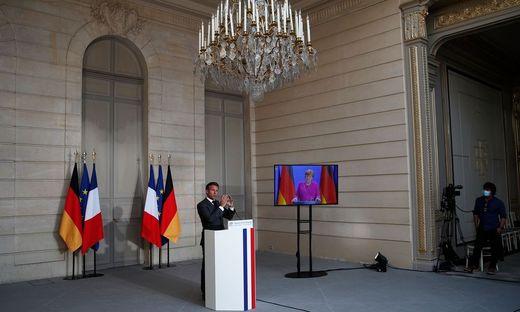 Der französische Präsident Emmanuel Macron und die deutsche Kanzlerin Angela Merkel bei der Vorstellung ihres ehrgeizigen Plans