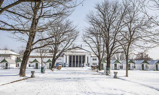 Winter im Strandbad Klagenfurt: Im Februar gab es in Klagenfurt 51 Zentimeter Neuschnee