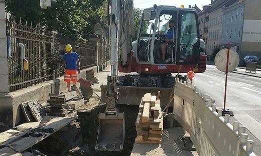 Arbeiten an der Gasleitung am Schönaugürtel in Graz