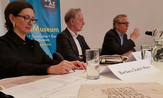 Barbara Stelzl-Marx (Boltzmann Institut), Günter Riegler (Stadtrat), Otto Hochreiter (GrazMuseum)
