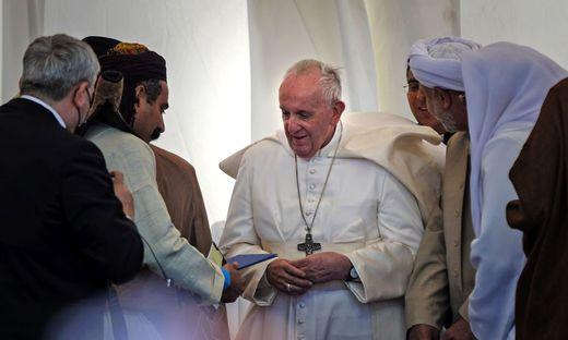 In Ur, der Heimat Abrahams, traf Papst Fran-ziskus Vertreter der Religionen im Irak