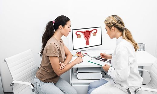 Young woman during a visit to the gynecologist. Women´s health, an examination of the uterus and ovarian ultrasound