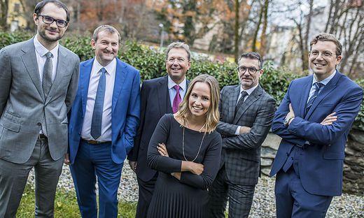 Sophie Malleg (Mitte) mit Christian Thon, Herbert Juri, Ernst Malleg, Thomas Schuster und Stefan Zankl