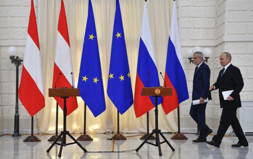 Bundespräsident Alexander Van der Bellen und Präsident Vladimir Putin