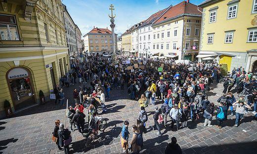 Hunderte Schüler streikten in Klagenfurt