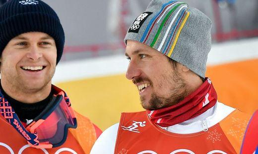 Marcel Hirscher hatte gut lachen: Er gewann Gold vor Alexis Pinturault (links)