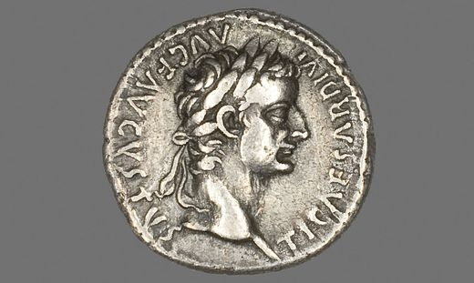 Denarius (Coin) Portraying Emperor Tiberius, AD 14/37, Roman, Roman Empire, Silver, Diam. 1.8 cm, 3.64 g PUBLICATIONxINx