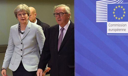 May und EU-Kommissionspräsident Juncker in der Vorwoche in Brüssel