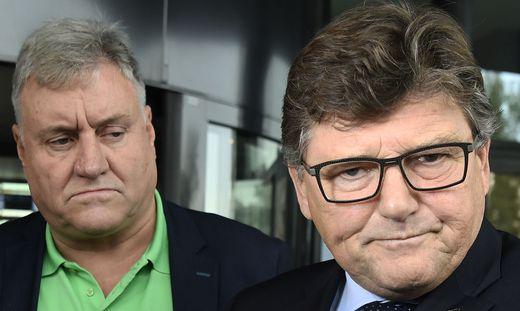 PRO-GE-Chef Rainer Wimmer (R.) und der Chef der GPA-djp Karl Dürtscher