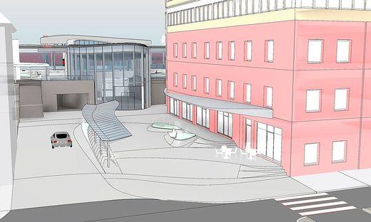 So soll das Areal rund um den sanierten Kapfenberger Bahnhof künftig aussehen
