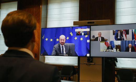 ++ HANDOUT ++ CORONA: VIDEOKONFERENZ BK KURZ UND EU-AMTSKOLLEGEN MIT EU-RATSPRAeSIDENT MICHEL