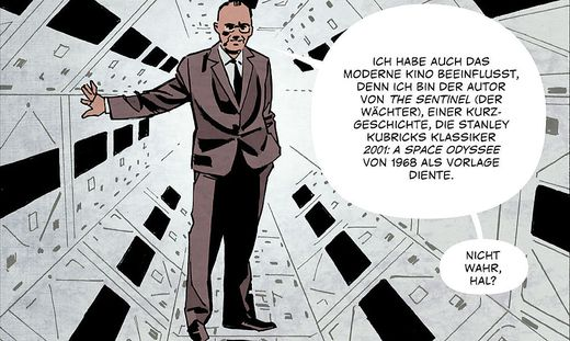 Der britische Autor Arthur C. Clarke (rechts) tritt selbst in der Graphic Novel auf