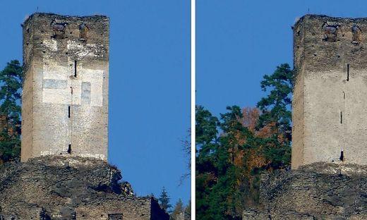 Hakenkreuz auf Burgruine Hochkraig