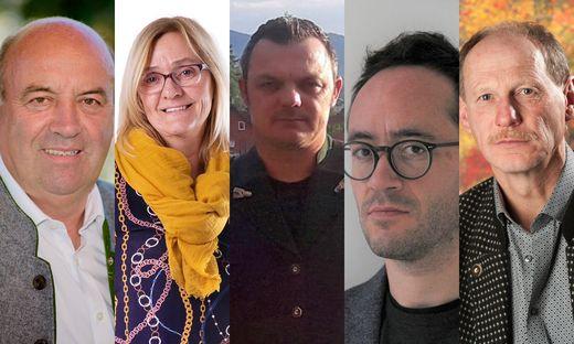 Die Spitzenkandidaten in Großklein: Johann Hammer (ÖVP), Gerlinde Zirngast (SPÖ), Andreas Adam (FPÖ), Robert Mair (Grüne), Willibald Köfer (ULG)