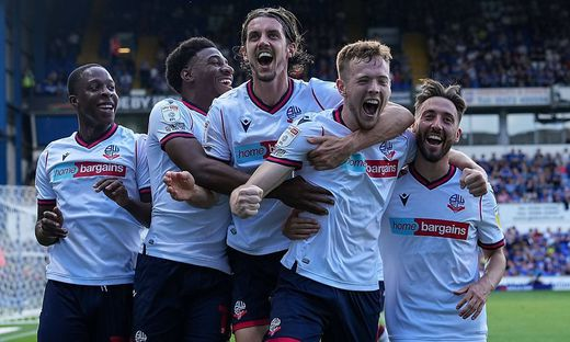 Mandatory Credit: Photo by Joe Toth/Shutterstock (12437793cl) George Johnston of Bolton Wanderers (6) celebrates his goa