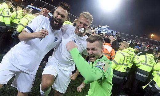Die finnischen Teamspieler feierten