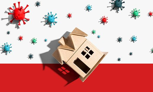 House with influenza and Coronavirus concept