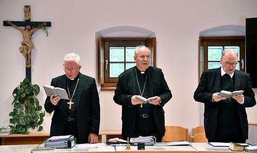 Vorsitzender der Bischofskonferenz, Erzbischof Franz Lackner, Kardinal Christoph Schönborn, Bischof Alois Schwarz