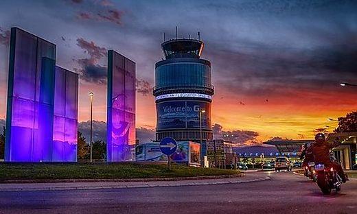 Morgendämmerung über dem Grazer Flughafen?